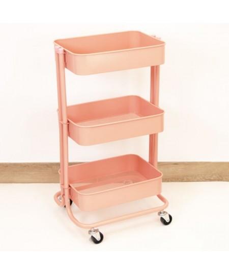 carrito 3 estantes rosa